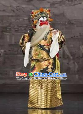 Chinese Kun Opera Painted Face Role Apparels The Peach Blossom Fan Peking Opera Garment Elderly Male Costumes and Hat