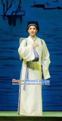 A Song of The Travelling Son Chinese Yue Opera Young Male Costumes Apparels and Headwear Shaoxing Opera Xiaosheng Scholar Garment