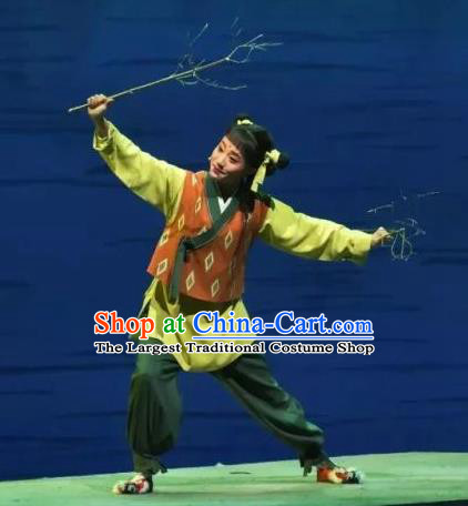 A Song of The Travelling Son Chinese Yue Opera Young Boy Costumes and Headwear Shaoxing Opera Wa Wa Sheng Teenager Garment Apparels