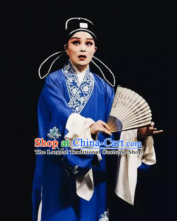 Chinese Kun Opera Young Male Role Apparels The Peach Blossom Fan Peking Opera Garment Niche Scholar Costumes and Hat
