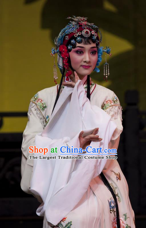 Chinese Shaoxing Opera Young Female White Dress Costumes and Headdress Lai Marriage Yue Opera Hua Tan Shen Gumei Garment Apparels