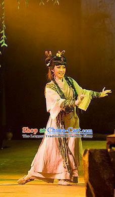 Chinese Shaoxing Opera Young Lady Dress Costumes and Headdress Nan Feng Ge Yue Opera Hua Tan Garment Apparels