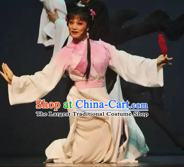 Chinese Shaoxing Opera Hua Tan Dress Garment Costumes and Headpieces Qing Teng Kuang Ge Yue Opera Actress Young Lady Apparels