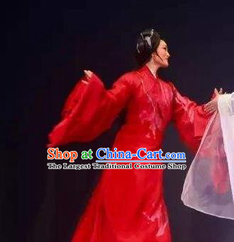 Chinese Shaoxing Opera Actress Hua Tan Red Dress Garment Costumes and Headpieces Qing Teng Kuang Ge Yue Opera Young Dame Apparels
