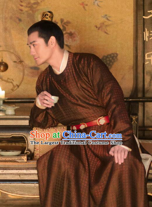 Chinese Ancient Song Dynasty Emperor Zhao Zhen Historical Costumes Apparels and Headwear Drama Serenade of Peaceful Joy Wang Kai Garment