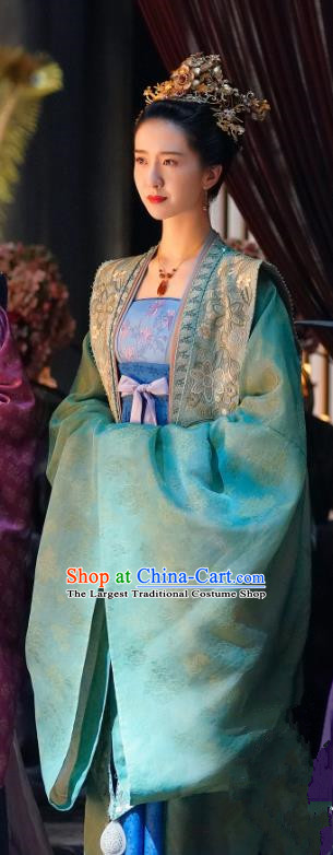 Chinese Ancient Noble Dame Garment Apparels and Headdress Drama Serenade of Peaceful Joy Song Dynasty Imperial Consort Miao Dress Historical Costumes