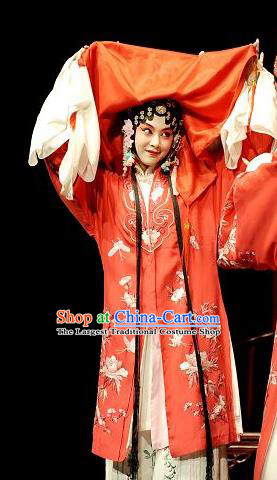 Chinese Kun Opera Bride Dress Costumes The Peach Blossom Fan Li Xiangjun Apparels Peking Opera Young Female Role Garment and Headdress