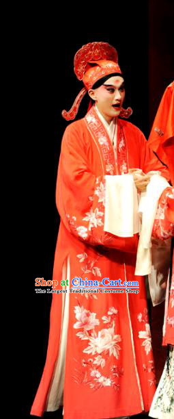Chinese Kun Opera Xiao Sheng Wedding Apparels The Peach Blossom Fan Peking Opera Young Male Scholar Garment Costumes and Headwear
