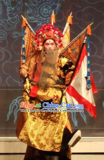 Chinese Kun Opera Elderly Male Apparels The Peach Blossom Fan Peking Opera Garment General Kao Armor Suit with Flags Costumes and Headwear
