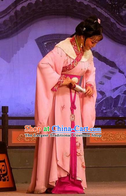 Chinese Shaoxing Opera Xiaodan Apparels Costumes and Headpieces Han Wen Empress Yue Opera Young Lady Dress Garment