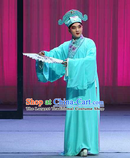 Chinese Beijing Opera Young Male Blue Robe Garment and Hat Pick Up the Jade Bracelet Shaoxing Opera Xiaosheng Fu Peng Scholar Apparels Costumes