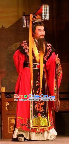 Chinese Yue Opera Han Dynasty Emperor Garment Costumes and Headwear Shaoxing Opera Elderly Male Han Wen Empress Apparels