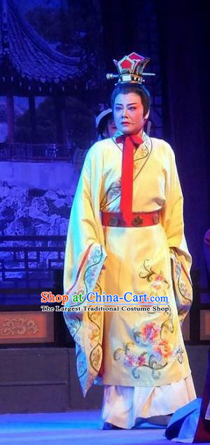 Chinese Yue Opera Niche Scholar Garment Costumes and Headwear Han Wen Empress Shaoxing Opera Young Male Yellow Robe Apparels Clothing