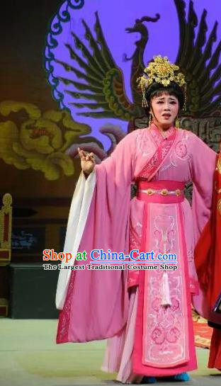 Chinese Shaoxing Opera Hua Tan Pink Hanfu Dress and Headdress Han Wen Empress Yue Opera Actress Garment Costumes Imperial Consort Apparels