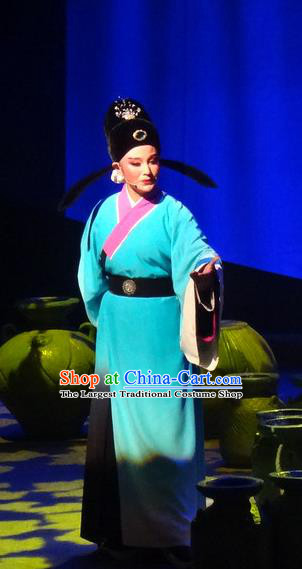 Smoky Rain Celadon Chinese Yue Opera Niche Garment Costumes and Hat Shaoxing Opera Young Male Scholar Yao Shanglin Apparels Clothing