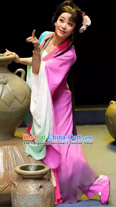 Chinese Shaoxing Opera Actress Rosy Dress and Headpieces Smoky Rain Celadon Yue Opera Hua Tan Garment Apparels Young Lady Costumes