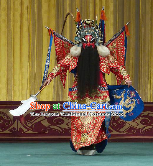 Chinese Beijing Opera Wu Sheng Apparels Zhu Lian Zhai Peking Opera Garment Costumes General Red Kao Armor Suit with Flags and Headwear