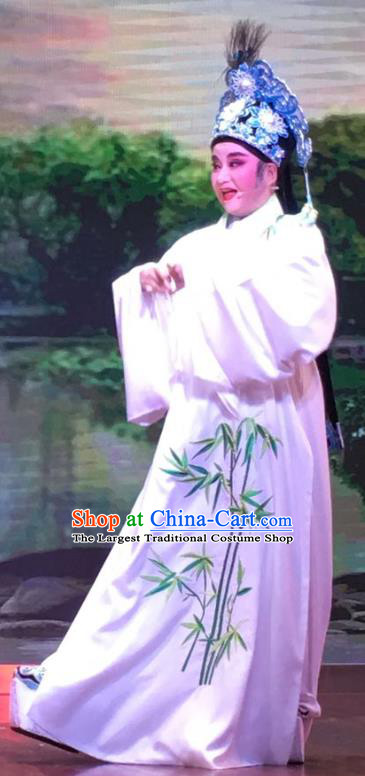 Chinese Yue Opera Xiaosheng Garment and Headwear The Crimson Palm Shaoxing Opera Young Male Scohlar Lin Zhaode Apparels Costumes Niche White Robe