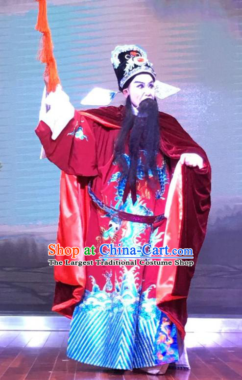 Chinese Yue Opera Official Garment and Headwear The Crimson Palm Shaoxing Opera Elderly Male Apparels Costumes Embroidered Robe
