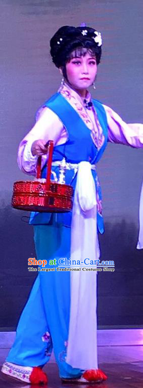 The Crimson Palm Chinese Shaoxing Opera Xiaodan Costumes and Headpieces Yue Opera Servant Girl Dress Garment Apparels