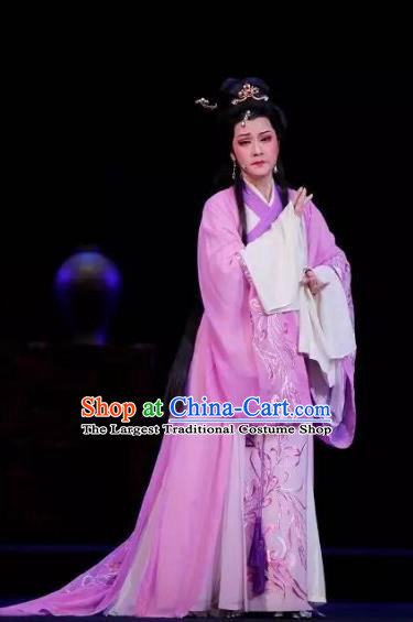 Tong Que Tai Chinese Shaoxing Opera Hua Tan Apparels Costumes and Headpieces Yue Opera Young Beauty Diao Chan Purple Dress Garment