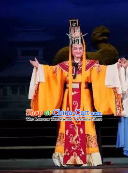 Chinese Yue Opera Emperor Xian Garment Costumes and Headwear Tong Que Tai Shaoxing Opera Young Male Embroidered Robe Apparels