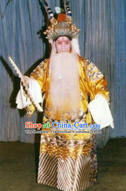 Chinese Historical Beijing Opera Old Man Apparels Zhu Lian Zhai Peking Opera Garment Costumes Emperor Ceremonial Robe and Headpiece