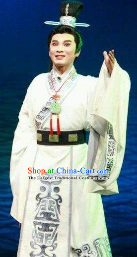Chinese Yue Opera Scholar Cao Zhi Garment Costumes and Headwear Tong Que Tai Shaoxing Opera Young Male Apparels