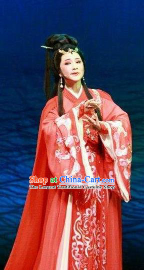Chinese Shaoxing Opera Young Lady Tong Que Tai Garment Apparels Costumes and Headdress Yue Opera Hua Tan Diao Chan Red Hanfu Dress