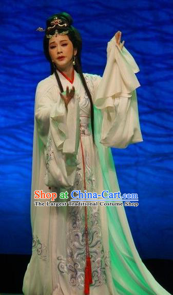 Chinese Shaoxing Opera Hua Tan Tong Que Tai Garment Apparels Costumes and Headdress Yue Opera Young Beauty Diao Chan White Hanfu Dress