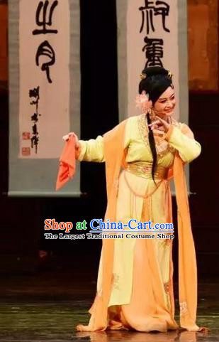 Chinese Shaoxing Opera Young Lady Chen Sanliang Costumes and Headpieces Yue Opera Courtesan Dress Garment Apparels