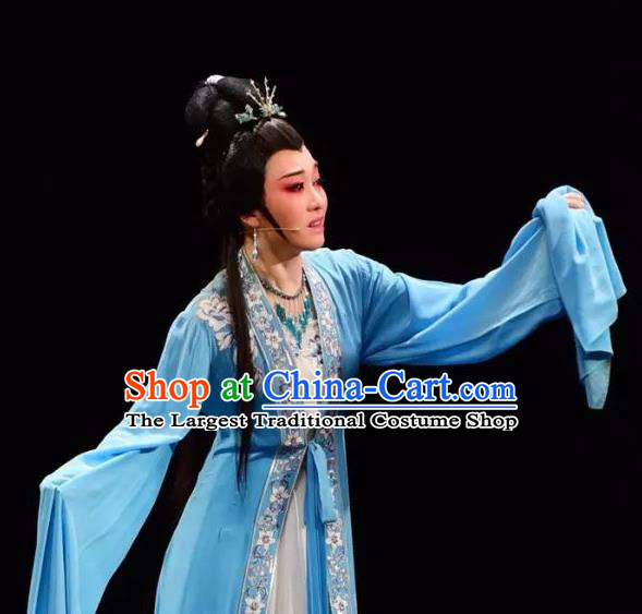 Chinese Shaoxing Opera Hua Tan Chen Sanliang Blue Dress Apparels Costumes and Headpieces Yue Opera Young Female Actress Garment
