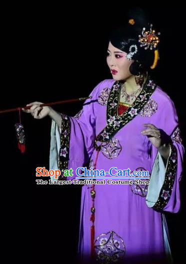 Chinese Shaoxing Opera Chen Sanliang Purple Dress Apparels Costumes and Headpieces Yue Opera Female Role Actress Garment