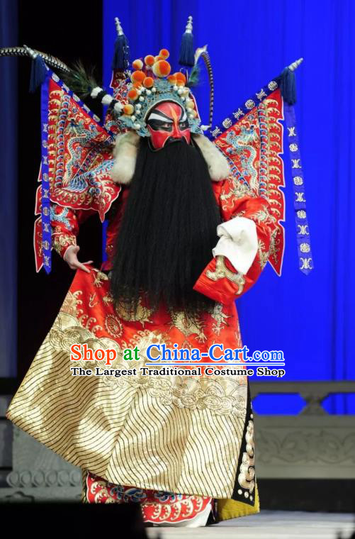 Chinese Historical Beijing Opera General Red Kao Armor Suit with Flags Apparels Zhu Lian Zhai Peking Opera Elderly Male Garment Costumes and Headpiece