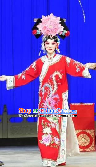 Chinese Beijing Opera Hua Tan Red Dress Costumes Zhu Lian Zhai Peking Opera Imperial Consort Apparels Garment and Headdress