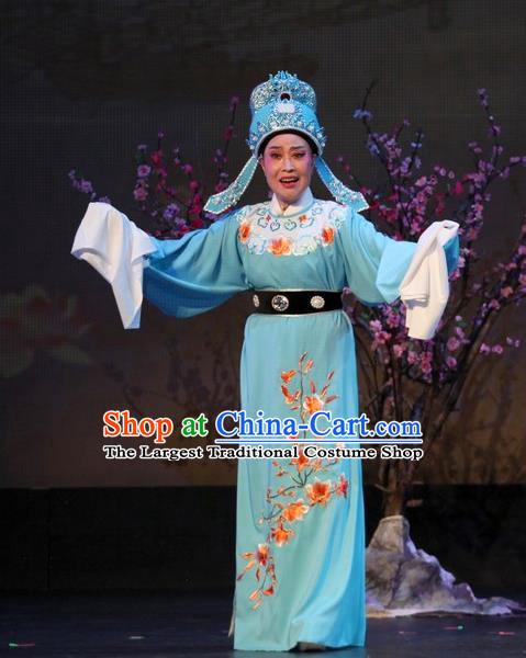 The Purple Hairpin Chinese Yue Opera Scholar Li Yi Costumes and Headwear Shaoxing Opera Xiaosheng Garment Apparels Young Male Blue Robe