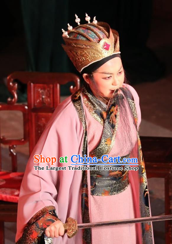 Chinese Yue Opera Baihua River Elderly Male Ling Bing Costumes and Headwear Shaoxing Opera Laosheng Garment Apparels
