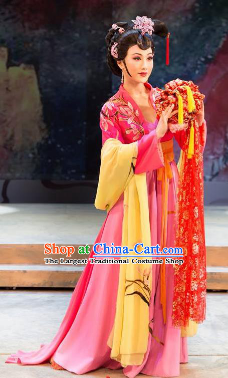 Chinese Shaoxing Opera Hua Tan Dress Garment Apparels and Hair Accessories Xiu Qiu Ji Yue Opera Noble Lady Wang Baochuan Costumes