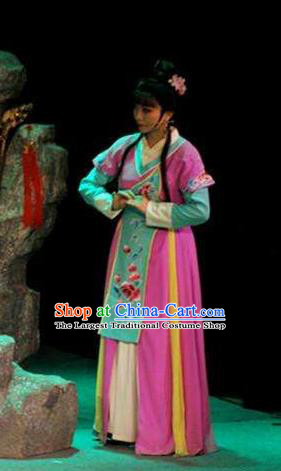 Chinese Shaoxing Opera Xiaodan Costumes and Headpieces Mo Chou Nv Yue Opera Young Lady Rosy Dress Garment Apparels