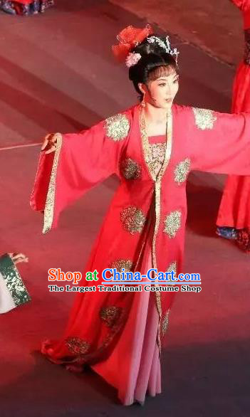 Chinese Shaoxing Opera Hua Tan Red Dress Apparels and Hair Accessories Baihua River Yue Opera Actress Young Female Cai Feng Garment Costumes