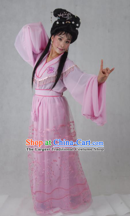 Chinese Shaoxing Opera Young Beauty Pink Costumes and Headpieces Mo Chou Nv Yue Opera Hua Tan Dress Apparels Actress Garment