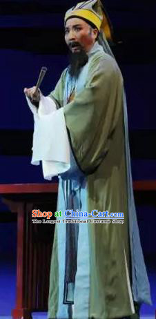 Chinese Yue Opera Elderly Male Garment Costumes and Headwear Shaoxing Opera Mo Chou Nv Laosheng Old Man Apparels