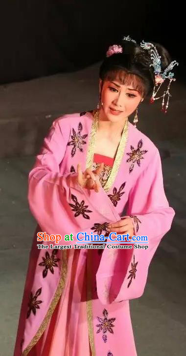 Chinese Shaoxing Opera Young Female Hua Tan Pink Dress Apparels Garment and Hair Accessories Baihua River Yue Opera Actress Cai Feng Costumes