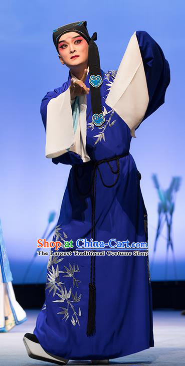 Chinese Classical Kun Opera Young Male Apparels The Story of Pipa Peking Opera Garment Scholar Blue Costumes and Headwear