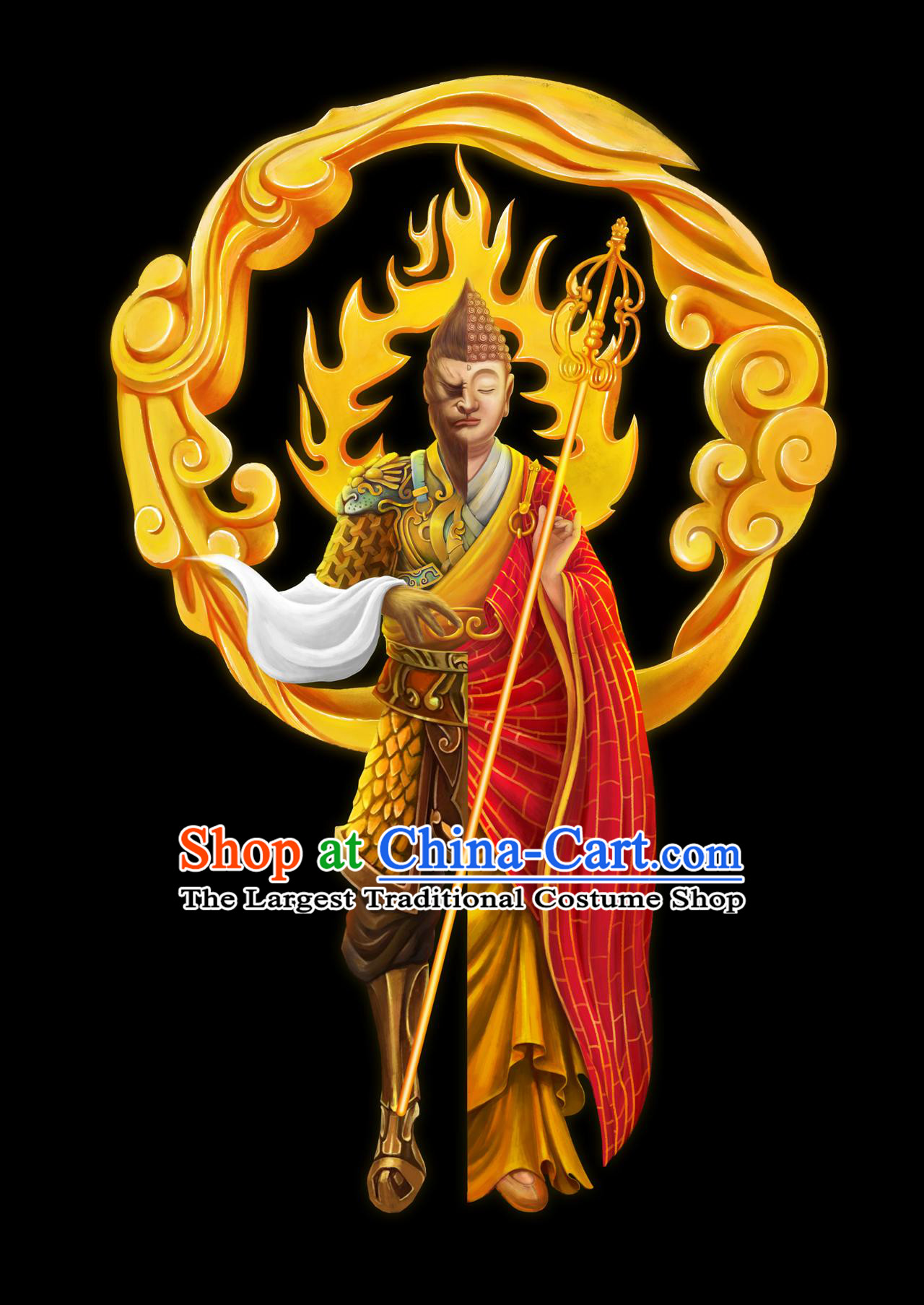 Chinese Ancient Cosplay Winning Buddha Armor Apparels Journey to the West Sun Wukong Monk Historical Costumes Cassock and Headwear