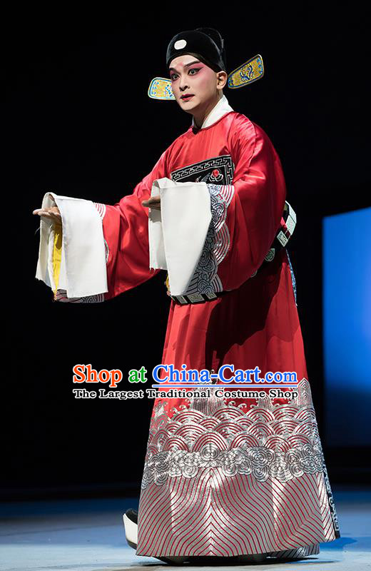 Chinese Classical Kun Opera Young Male Chancellor Apparels The Story of Pipa Peking Opera Garment Number One Scholar Red Official Costumes and Hat
