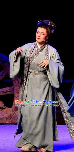 Chinese Shaoxing Opera Elderly Female Costumes and Headpieces Yue Opera Old Woman Cai Wenji Garment Apparels