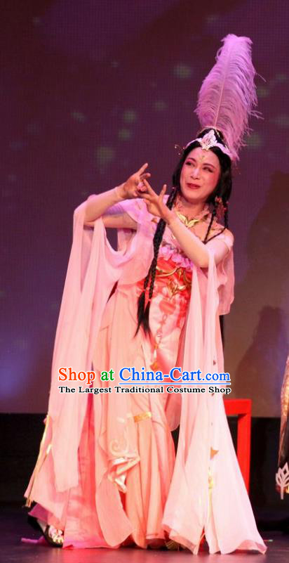 Intoxicating Night at the Barracks Chinese Shaoxing Opera Hua Tan Dance Costumes and Headwear Yue Opera Actress Dress Apparels Garment
