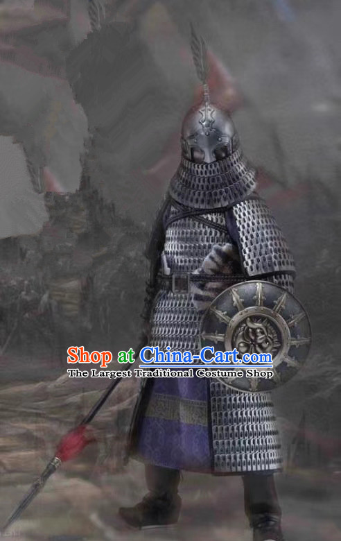 Chinese Ancient General Armor Suits Cosplay Costumes Custom Soldier Apparels and Helmet Complete Set