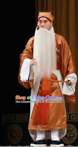 Chinese Classical Kun Opera Grandpa Old Men Apparels The Story of Pipa Peking Opera Garment Elderly Male Golden Costumes and Headwear